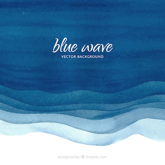 Sfondo acquerello con onde blu