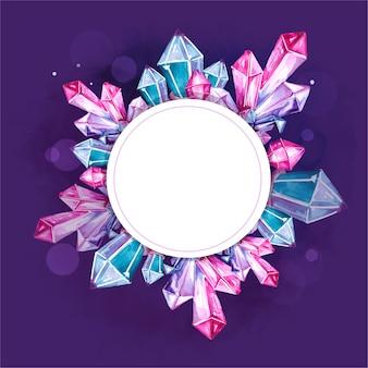 Sfondo acquerello con cristalli e gemme