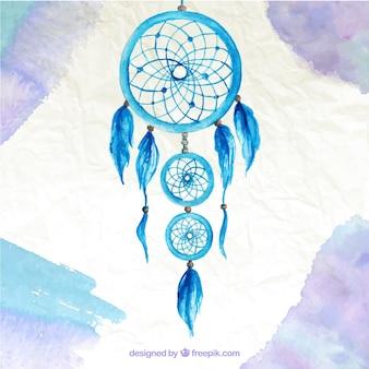 Sfondo acquerello con un simpatico acchiappasogni blu