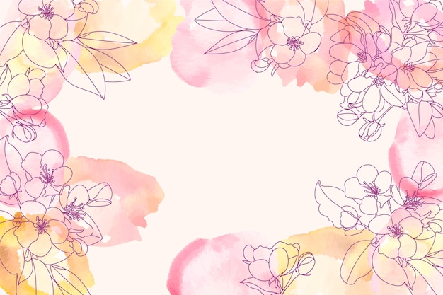Sfondo acquerello con elementi floreali disegnati a mano