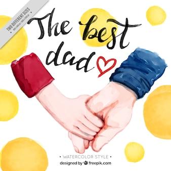 Priorità bassa dell'acquerello con le mani ed i cerchi per il giorno del padre