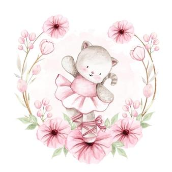 Gatto della ballerina dell'acquerello con i fiori