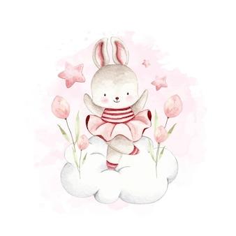 Coniglio della ballerina dell'acquerello che balla sulla nuvola e fiore rosa e stella