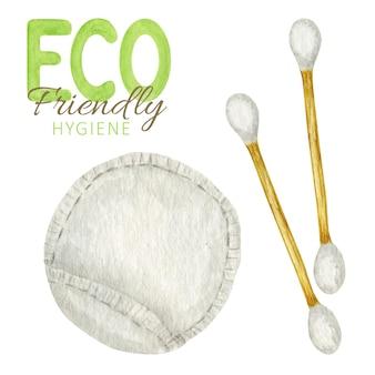 Tamponi di cotone di bambù dell'acquerello, tamponi di cotone. materiale in legno biodegradabile.