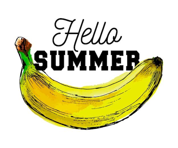 Slogan dell'acquerello di frutta di banana ciao estate