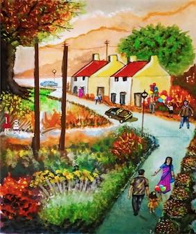 Illustrazione disegnata a mano di bella vista di paesaggio urbano dell'acquerello