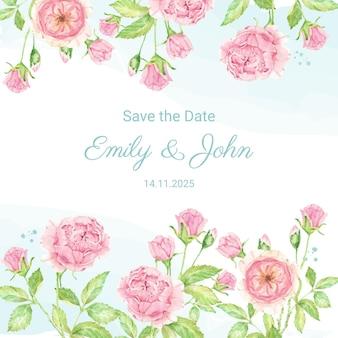 Acquerello bella rosa inglese bouquet di fiori giardino quadrato modello di invito a nozze