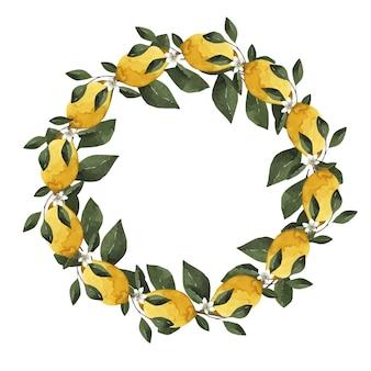 Acquerello bella cornice con fiori bianchi e foglie