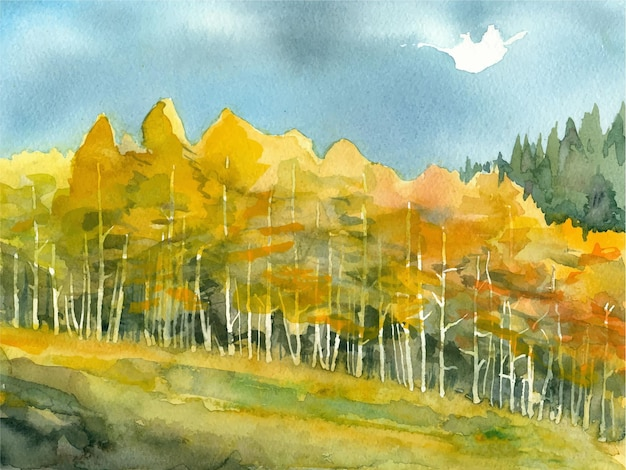 Acquerello bellissimo dipinto ad albero disegnato a mano