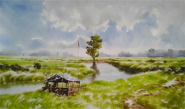 Acquerello bellissimo lago e pittura della natura verde