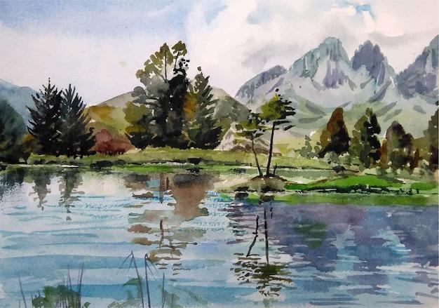 Il bellissimo lago dell'acquerello nell'illustrazione del paesaggio delle montagne
