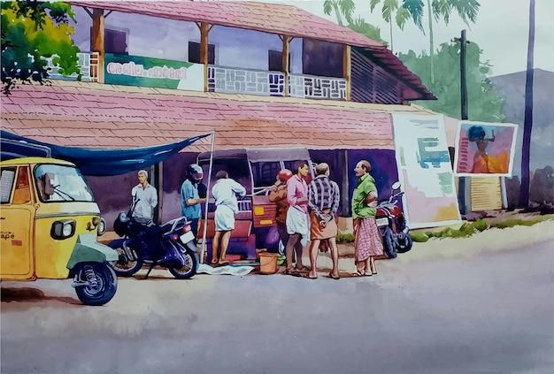 Illustrazione disegnata a mano di bella vista di paesaggio dell'acquerello