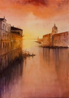 Bellissimo monumento dell'acquerello nell'illustrazione colorata della scena del mare