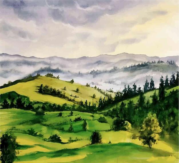 Bella illustrazione di vista del paesaggio di montagna dell'acquerello