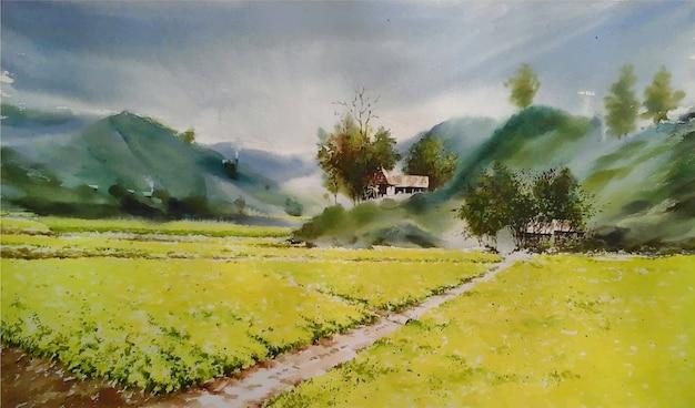 Paesaggio disegnato a mano della bella natura dell'acquerello