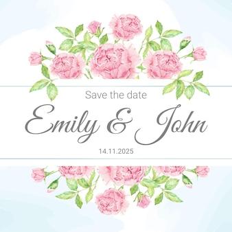 Acquerello bellissimo bouquet di fiori rosa rosa inglese con cornice, carta di invito a nozze