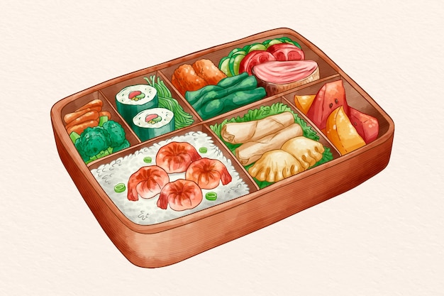 Bento box acquerello con deliziose prelibatezze
