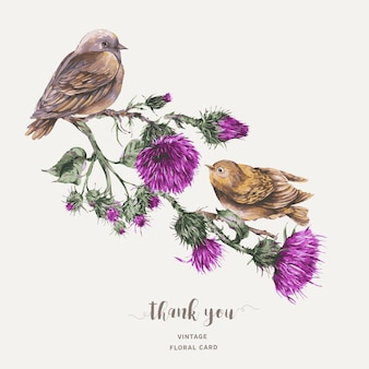 Uccello dell'acquerello su un ramo con l'illustrazione botanica della cartolina d'auguri del cardo selvatico