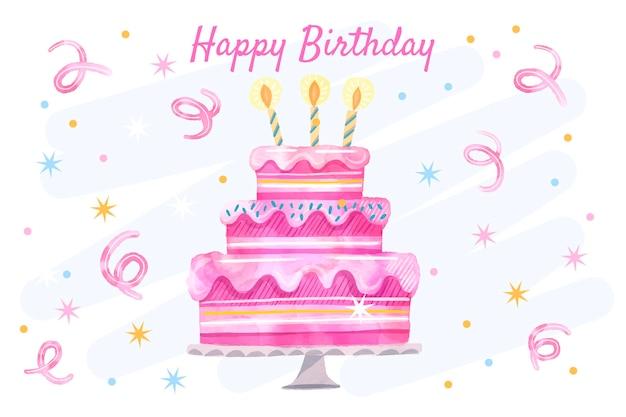 Sfondo di compleanno ad acquerello con torta
