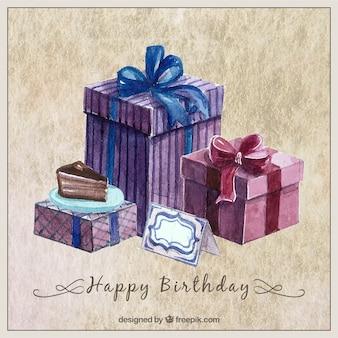 Carta di compleanno acquerello con doni