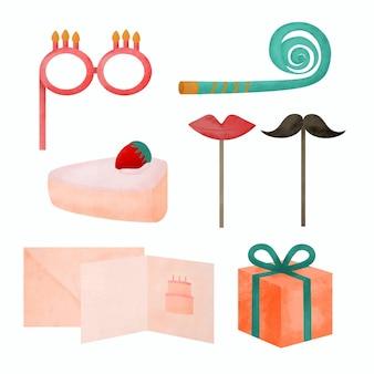 Un oggetto ad acquerello a tema festa di compleanno, un concept per decorare un locale o realizzare biglietti d'invito. illustrazione del fumetto in stile acquerello