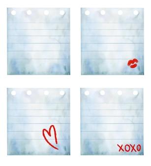 Raccolta di fogli di carta bianca dell'acquerello con cuore e baci.