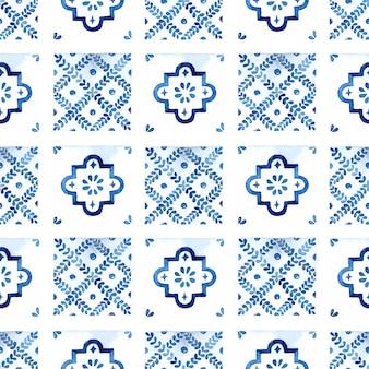 Modello senza cuciture delle mattonelle di azulejo blu dell'acquerello