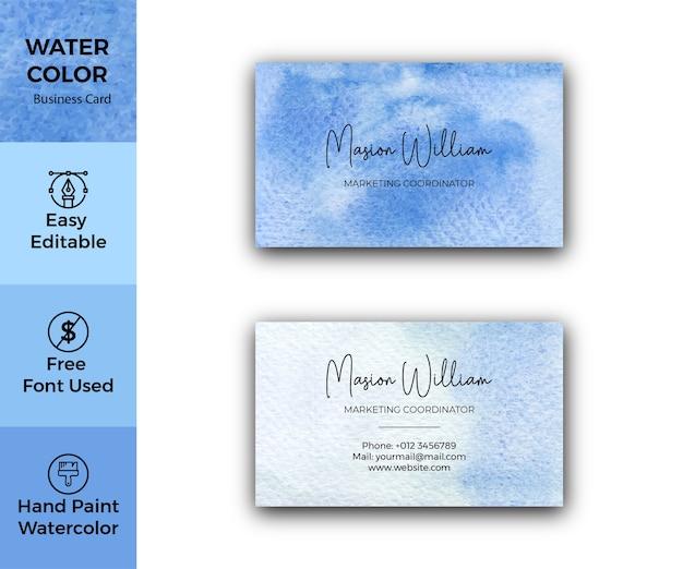 Modello di biglietto da visita aziendale blu dell'acquerello