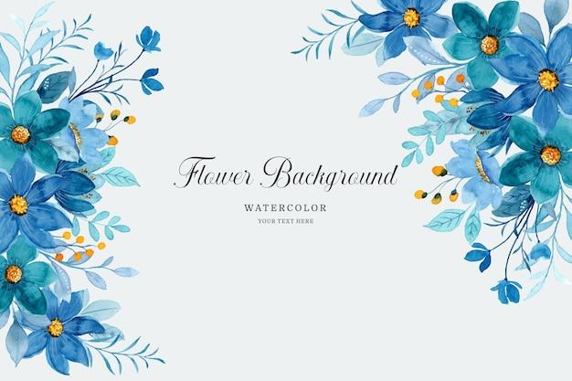Sfondo floreale blu acquerello