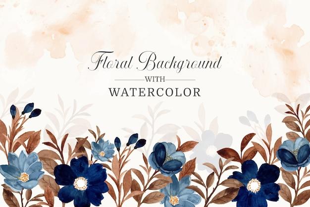 Acquerello blu fiore e foglie marroni sfondo