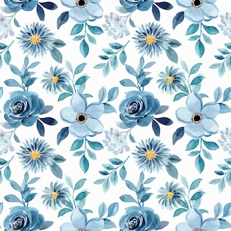 Reticolo senza giunte floreale verde blu dell'acquerello