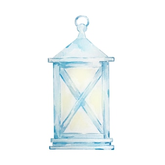 Lanterna blu dell'acquerello dipinto a mano lanterna