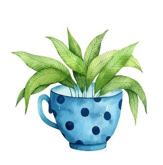 Tazza blu dell'acquerello con una pianta verde all'interno isolata