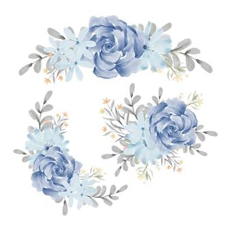 Collezione di composizioni floreali rosa blu dell'acquerello
