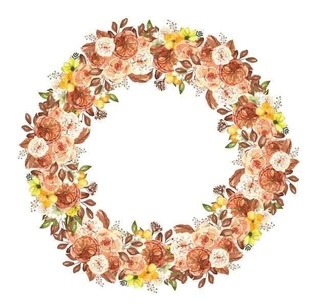 Bouquet boho acquerello con fiori e foglie secchi