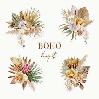 Set di mazzi di fiori boho dell'acquerello