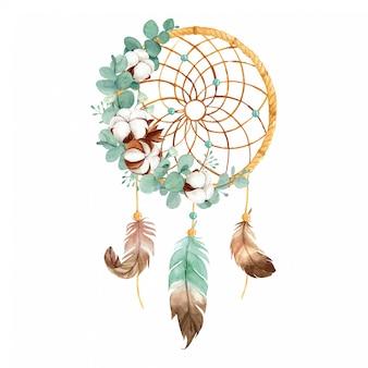 Acquerello boho dream catcher con fiori di cotone selvatico e foglie di eucalipto