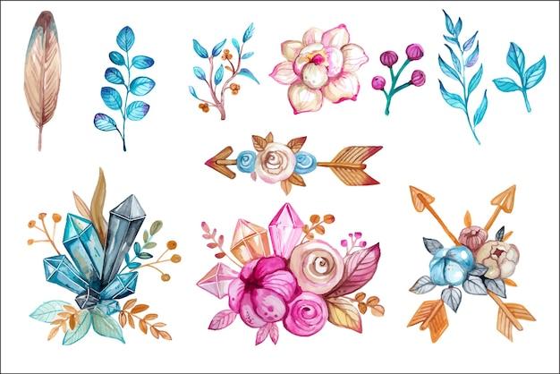 Boho dell'acquerello e insieme di elementi di design disegnati a mano magica