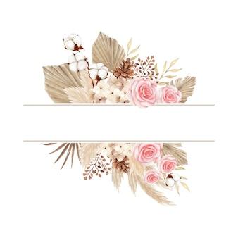Cornice in stile boho dell'acquerello con rose e foglie secche