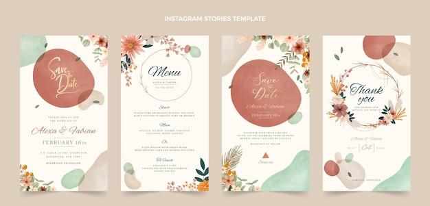Storie di instagram di matrimonio boho ad acquerello