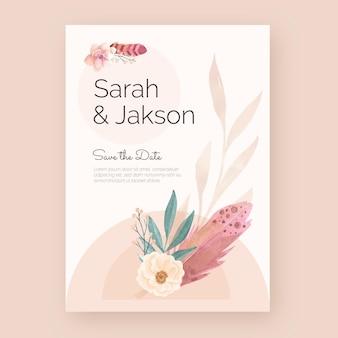 Poster di matrimonio boho acquerello