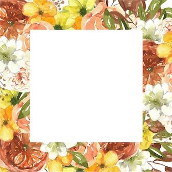 Cornice botanica acquerello con fiori autunnali