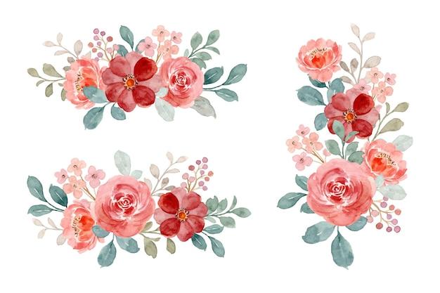 Collezione di bouquet dell'acquerello di rose selvatiche