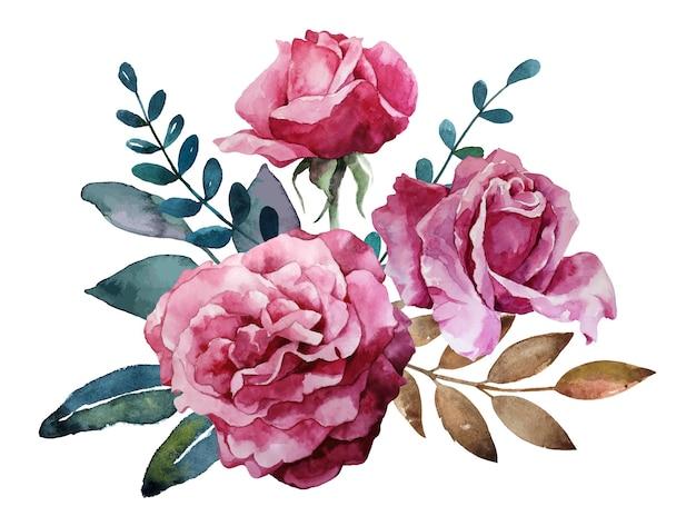 Mazzo dell'acquerello dell'illustrazione delle rose rosa