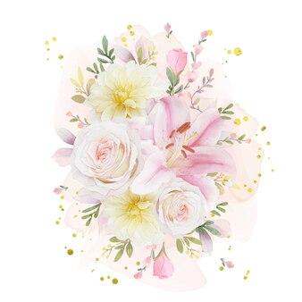 Acquerello bouquet di rose giglio e dalia fiore