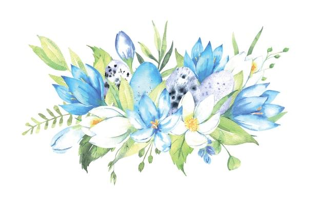 Mazzo dell'acquerello con fiori uova di pasqua