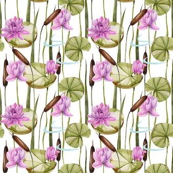 Giunco acquerello e modello senza cuciture di loto rosa