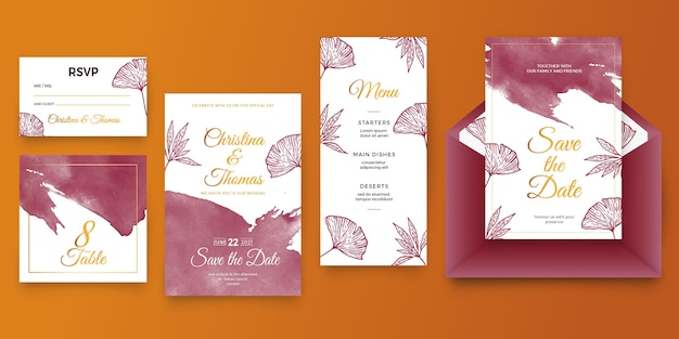Cartoleria matrimonio acquerello bordeaux e dorato