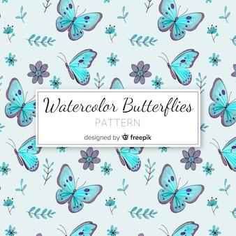 Modello di farfalle ad acquerello Vettore Premium