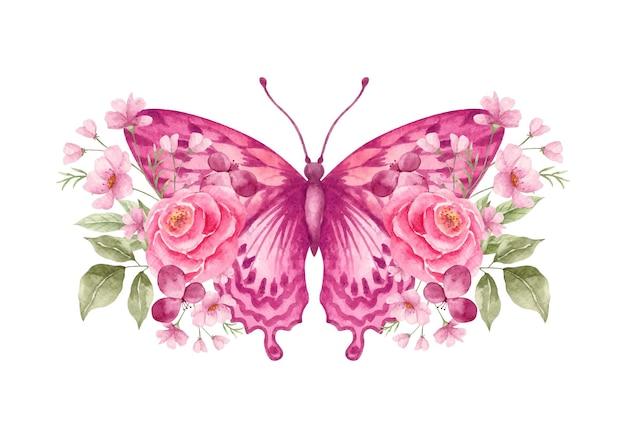 Farfalla acquerello con adorabile decorazione floreale ornamentale
